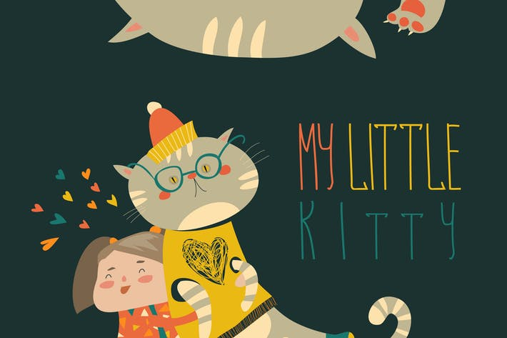 Thumbnail for Small girl with funny kitten. Vector illustration
