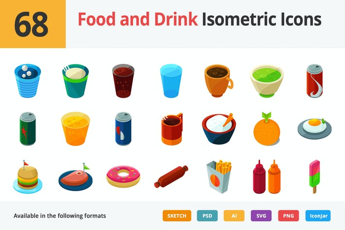 Thumbnail for Food and Drink Vector Isometric Icons