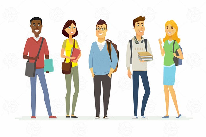 Happy senior school students - vector illustration