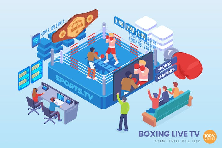 Thumbnail for Isometric Boxing Live TV Vector Concept