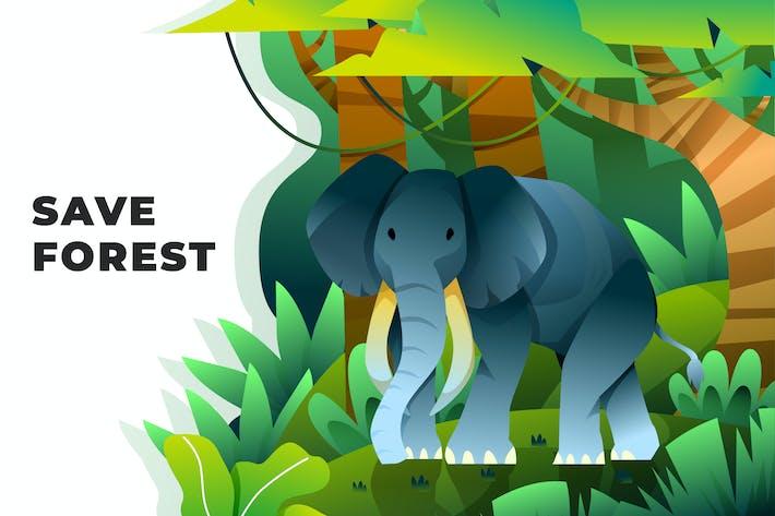 Save Forest - Vector Illustration
