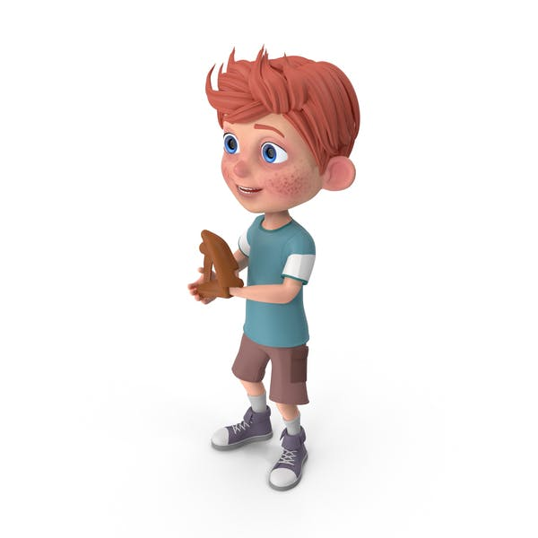 Cartoon Boy Charlie Playing Baseball