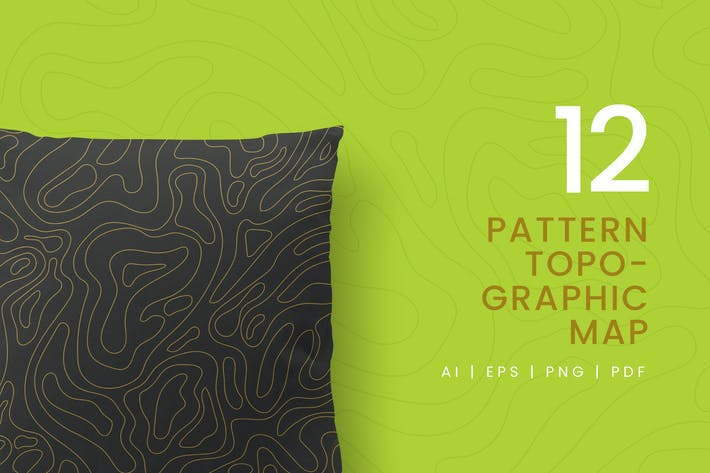 Thumbnail for 12 Seamless Topographic Pattern
