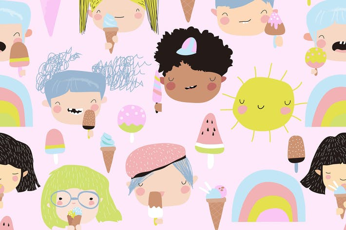 Thumbnail for Vector seamless pattern of cute kid faces with ice