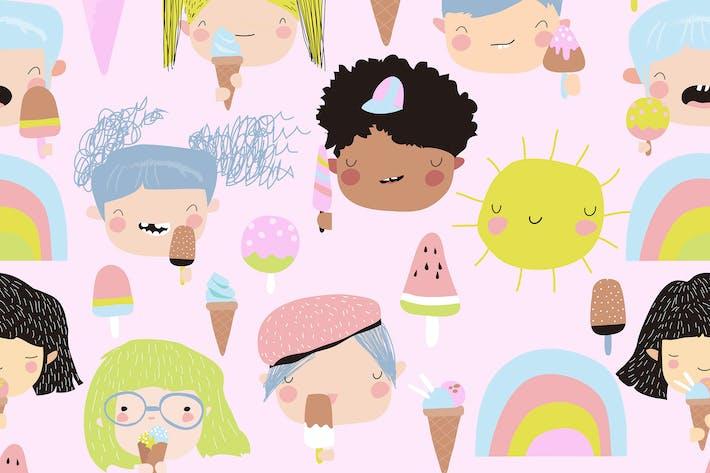 Thumbnail for Vektor nahtloses Muster von niedlichen Kind Gesichter mit Eis