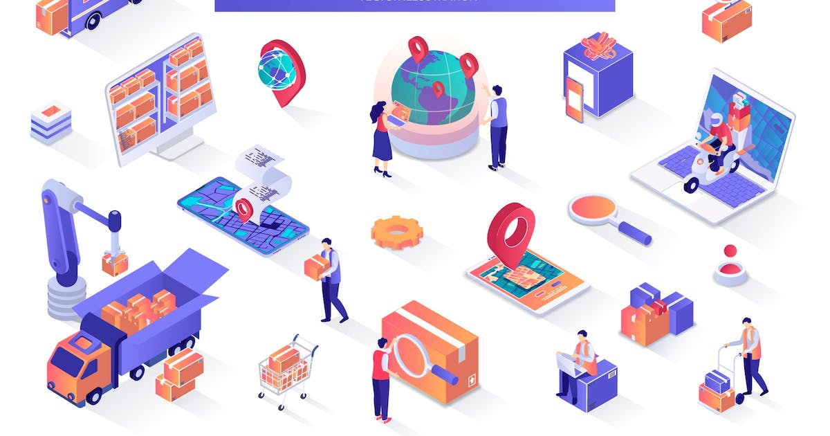 Download Delivery Service Isometric Design Elements by alexdndz