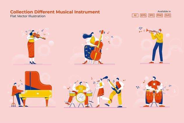 Collection Different Musical Instrument