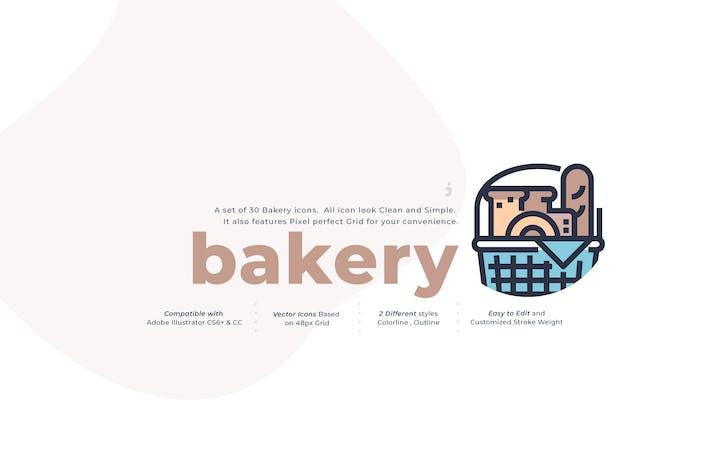 Thumbnail for 30 Bakery Icon Set