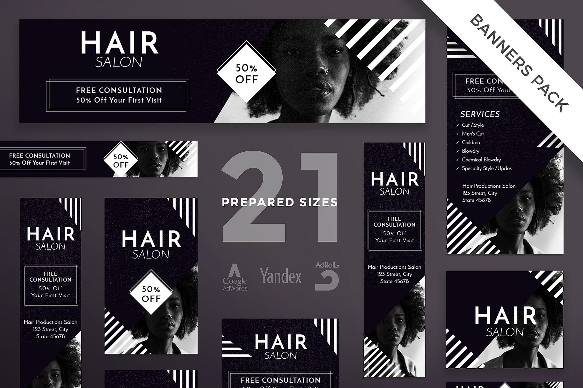 Hair Salon Banner Pack Template By Ambergraphics On Envato Elements