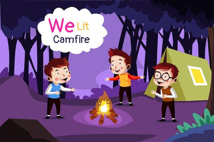 We lit campfire - Illustration