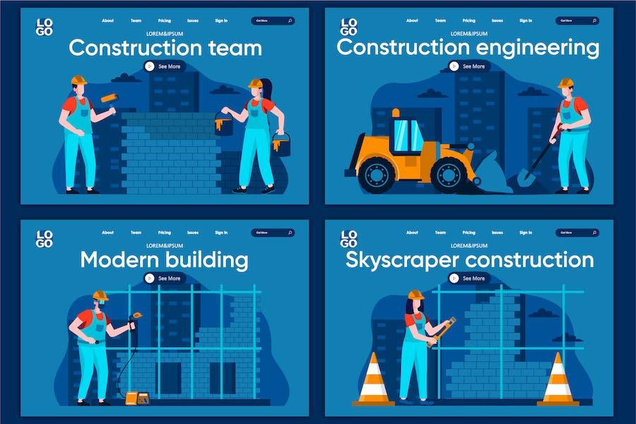 Modèle de page de destination Engineering Flat Concept