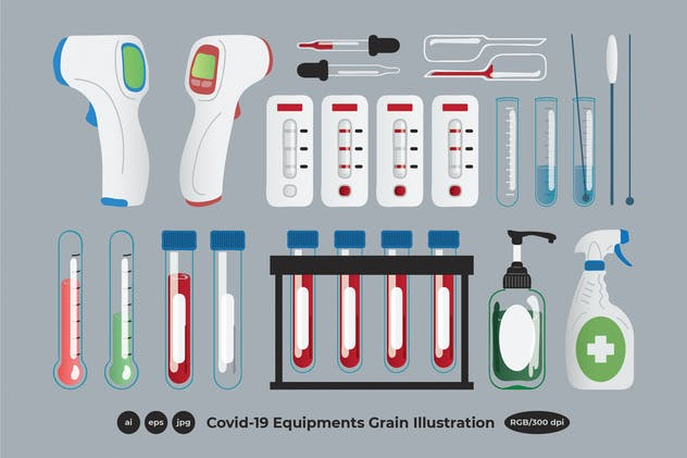 Corona Virus Covid-19 Equipment Grain Illustration