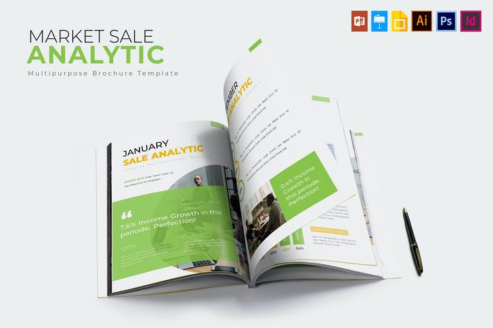 Thumbnail for Market Sale Analytic | Brochure Template