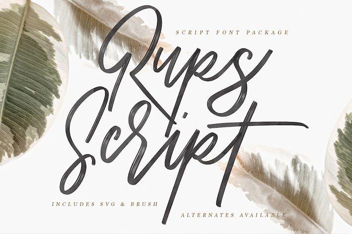 Thumbnail for Rups Script Brush Font