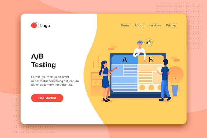 Thumbnail for A/B split testing Illustration - Website Header