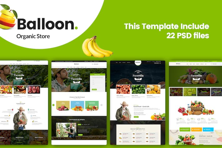 Thumbnail for Balloon | Organic Farm & Food Business Template