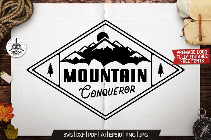 Mountain Logo Design, Retro Badge, Adventure Quote