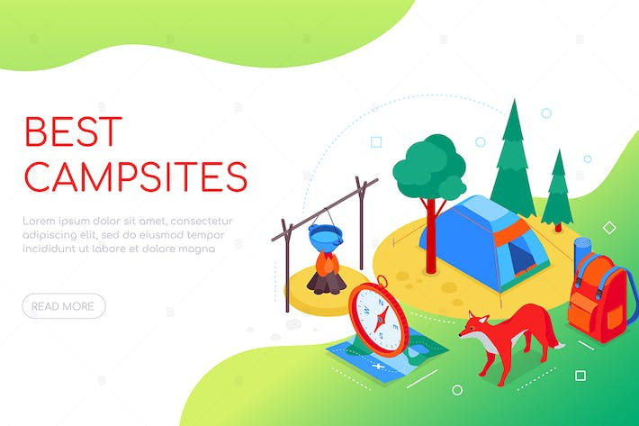Thumbnail for Best campsites - colorful isometric web banner