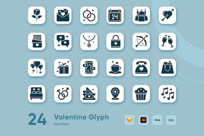 24 Valentine Glyph Icon