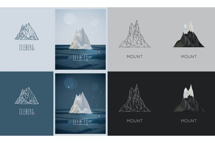Thumbnail for vector low-poly iceberg. poster and logo design