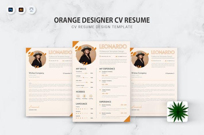 Orange Designer CV Resume