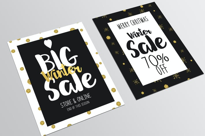 Thumbnail for Set of Christmas Sale Flyer Template
