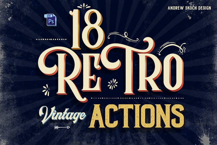 Thumbnail for Vintage Text Photoshop Action