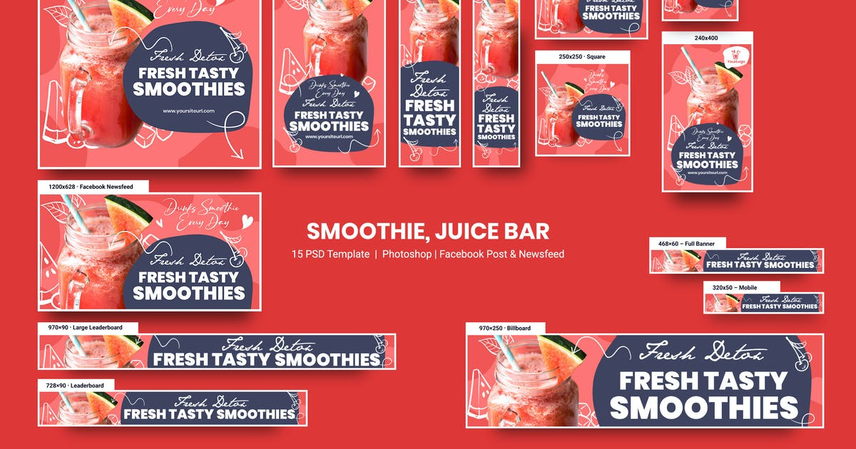 Download Smoothie, Juice Bar and Organic Food Banners Ad by YummyDs
