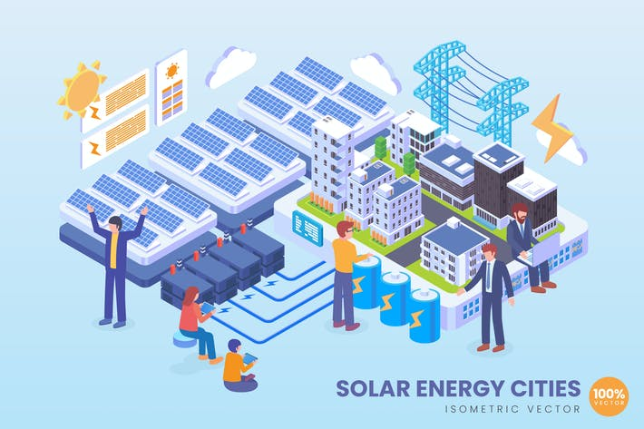 Thumbnail for Isometric Solar Energy Cities Technology Vector
