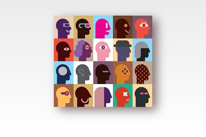 Thumbnail for Human Heads pop-art vector design