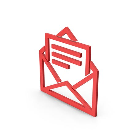 Symbol Letter With Paper Red