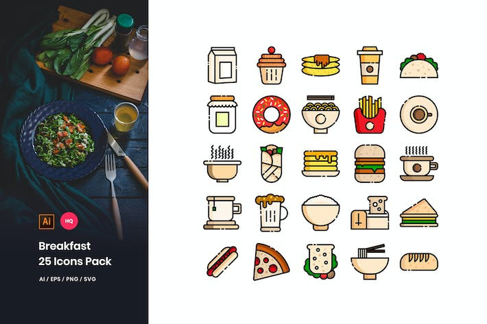 Thumbnail for Breakfast Toys Icons Pack