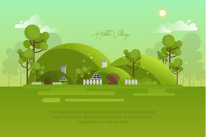 Thumbnail for Hobbit Village - Vector Landscape & Building