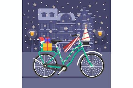 Christmas Bike Festive Scene