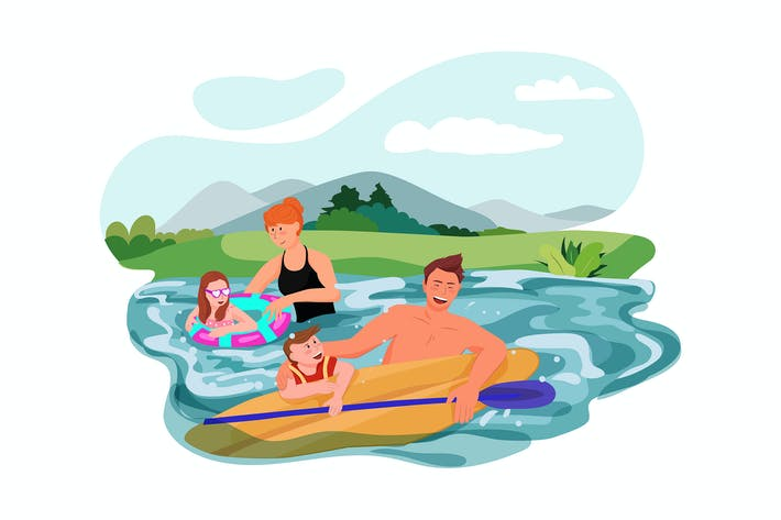 Family swimming in the river