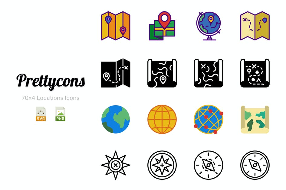 Download Prettycons - 280 Locations Icons Vol.1 by Prettycons