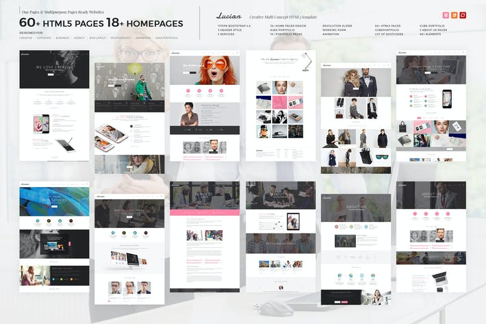 Thumbnail for Lucian - Multi-Concept Creative HTML5 Template