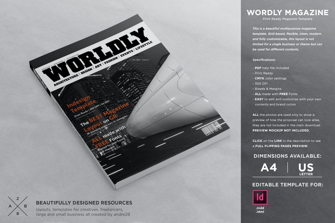 9217d8b5ff361 Wordly Magazine Indesign Template by andre28 on Envato Elements