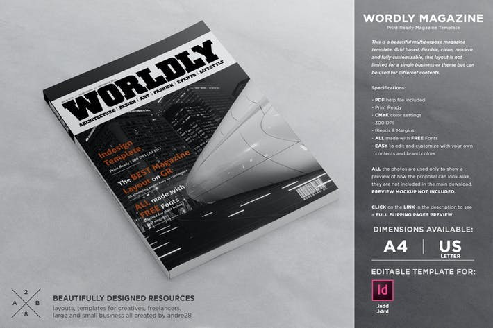Thumbnail for Wordly Magazine Indesign Template