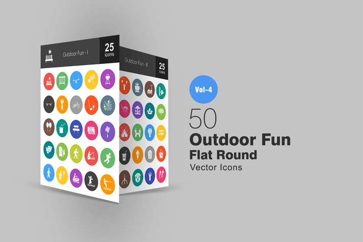 Thumbnail for 50 Outdoor Fun Flat Round Icons