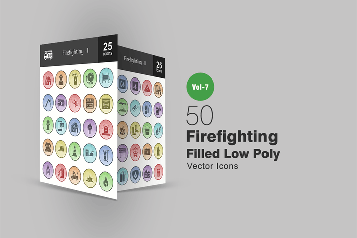 Thumbnail for 50 Firefighting Filled Low Poly Icons