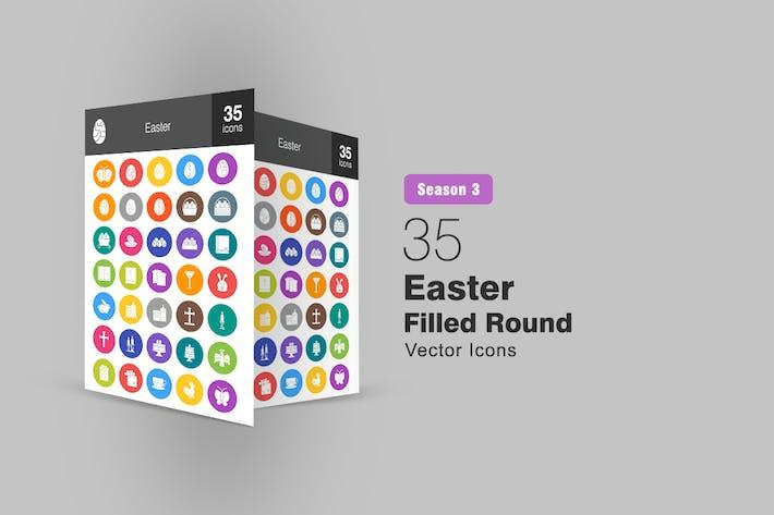 35 Easter Flat Round Icons Season III