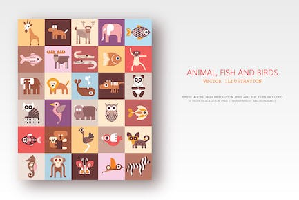 Animals, Fish and Birds bundle of vector icons