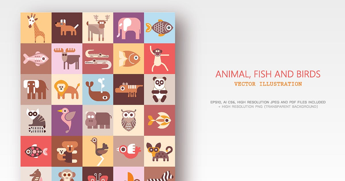 Download Animals, Fish and Birds bundle of vector icons by danjazzia