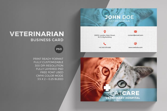 Download 2145 landscape print templates envato elements page 4 thumbnail for veterinarian business card template reheart Gallery