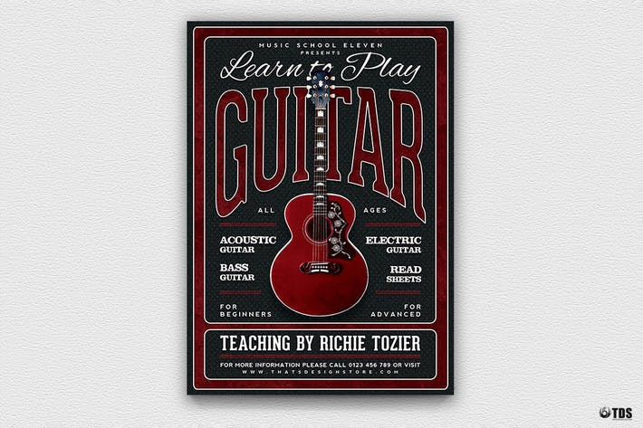 Thumbnail for Guitar Lessons Flyer Template V3