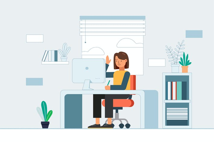 Cover Image For Telecommuting concept with woman