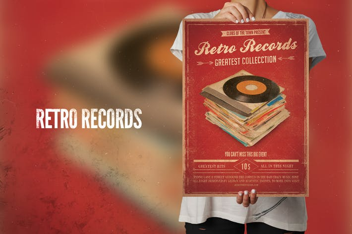 Thumbnail for Retro Records Flyer Poster
