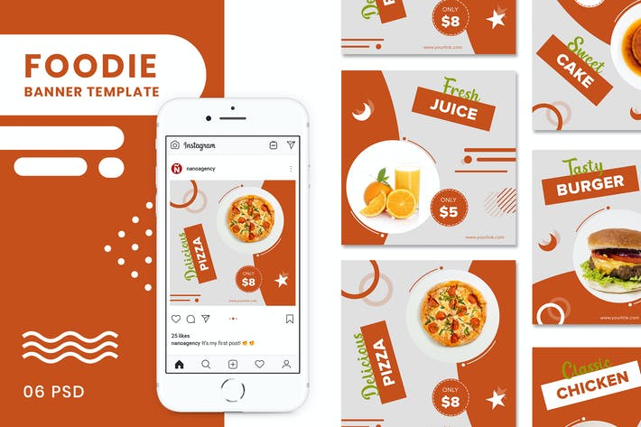 Thumbnail for Foody Banners Social Media Post Templates
