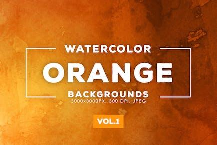 Orange Aquarell Hintergründe Vol.1
